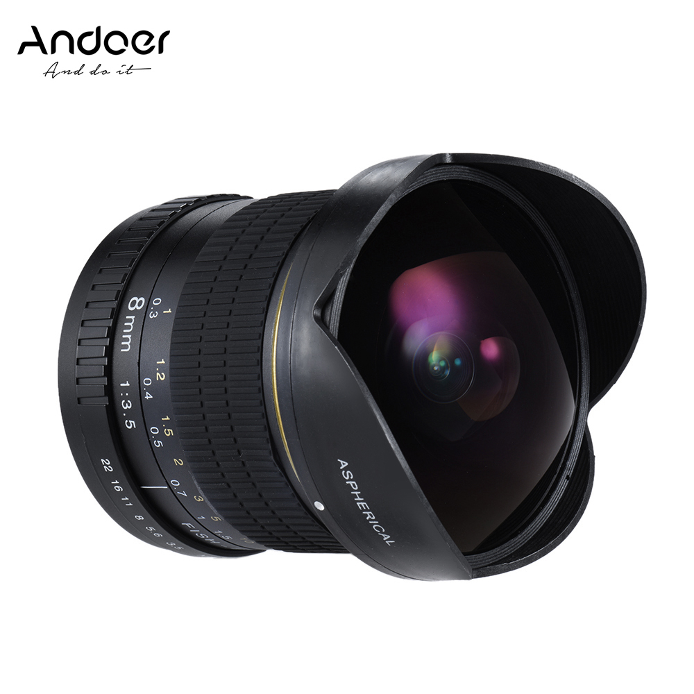 Get Extra 6% Off Andoer 8mm F/3.5 170° Ultra Wide HD Fisheye Aspherical Circular Lens