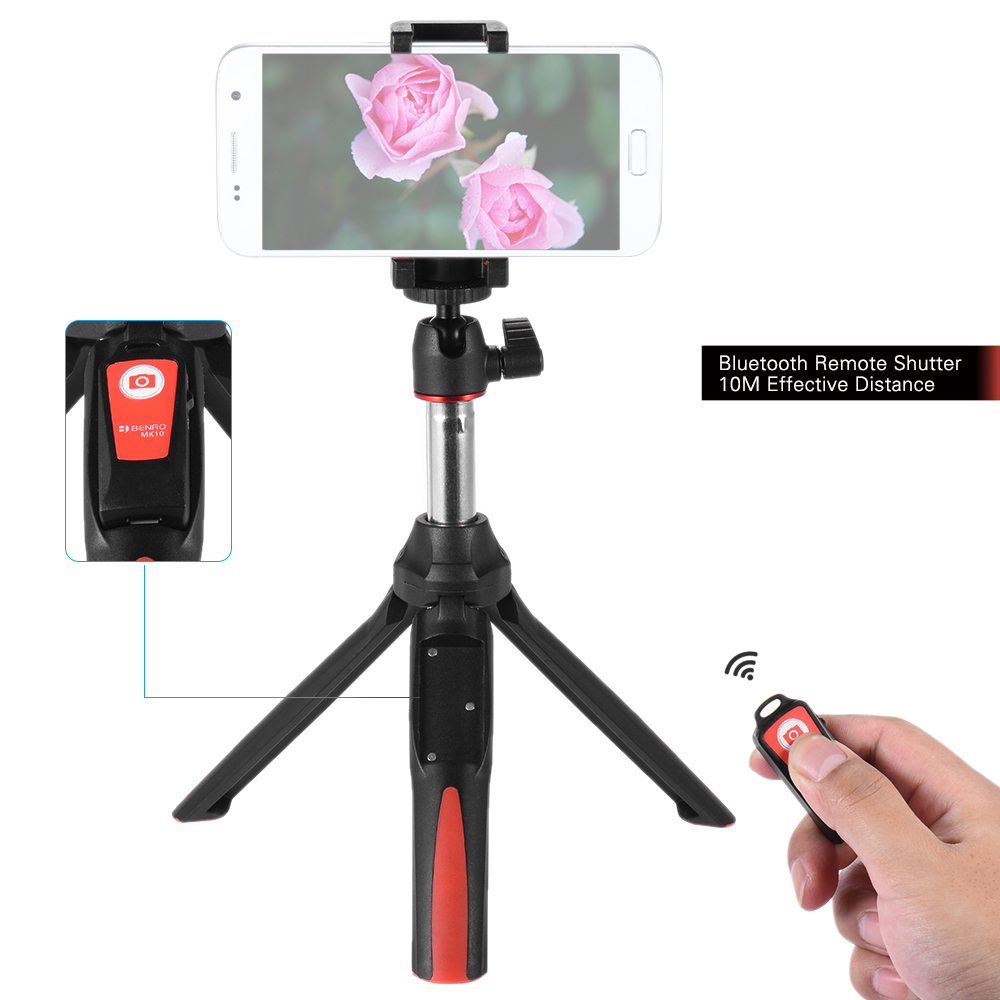 red benro mk10 handheld extendable mini tripod selfie stick with bluetooth remote control. Black Bedroom Furniture Sets. Home Design Ideas