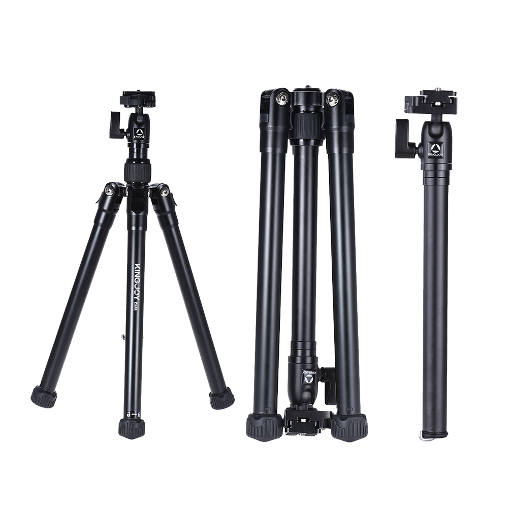 kingjoy p056 5 section dslr camera tripod multifunctional light portable tripod and selfie. Black Bedroom Furniture Sets. Home Design Ideas