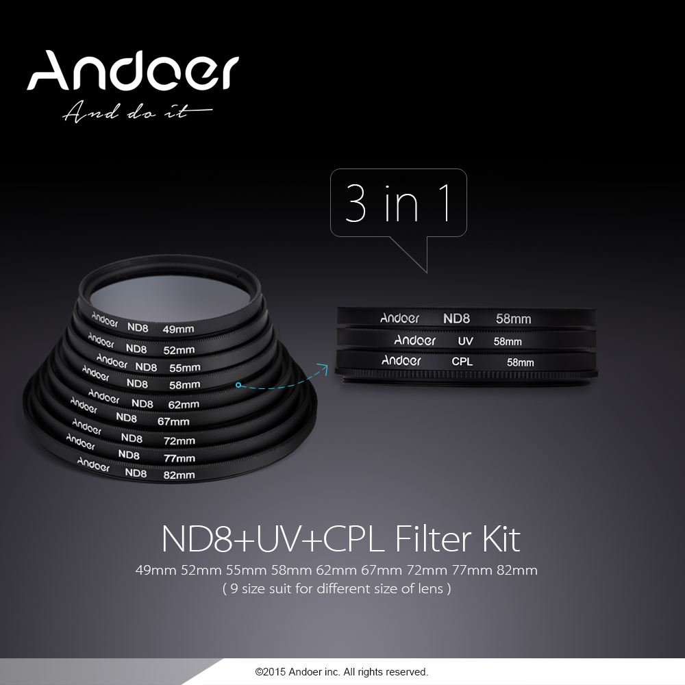 andoer 62mm uv cpl nd8 circular filter kit circular. Black Bedroom Furniture Sets. Home Design Ideas
