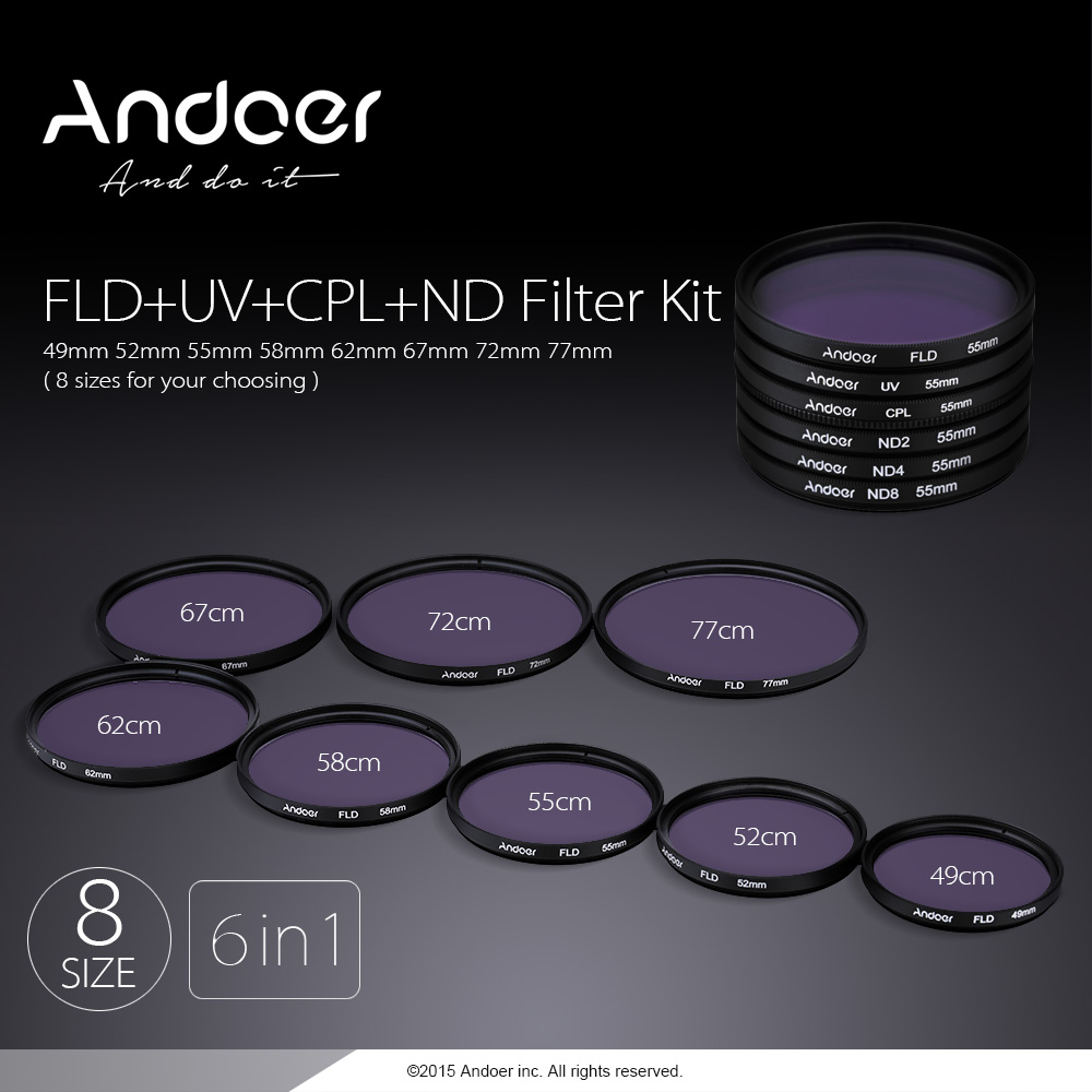 andoer 52mm uv cpl fld nd nd2 nd4 nd8 photography filter. Black Bedroom Furniture Sets. Home Design Ideas