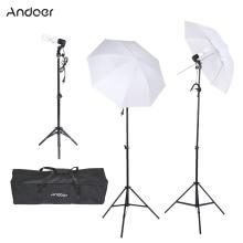 Andoer фотографии и видео портрет зонтик непрерывное освещение тройной комплект с три лампочки три E27 шарнирного соединения сокета три стоят два зонтики, футляр для переноски