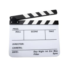 "Acrylic Clapboard Dry Erase Director Film Movie Clapper Board Slate 9.6 * 11.7"" with White/Black Sticks"