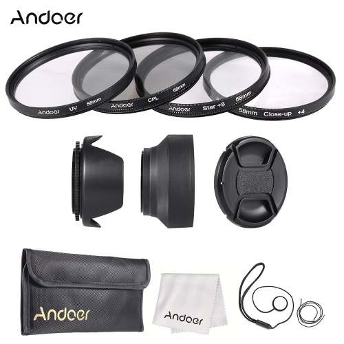 Buy Andoer 58mm Lens Filter Kit (UV + CPL Star+8 Close-up+4 ) Cap Holder Tulip & Rubber Hoods Cleaning Cloth