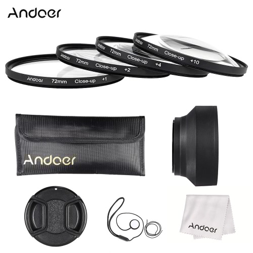 Buy Andoer 72mm Close-up Macro Lens Filter Set(+ 1 +2 +4 +10) Accessories(Lens Pouch + Collapsible Hood Cap Holder Cleaning Cloth)