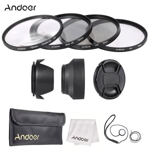 Buy Andoer 72mm Lens Filter Kit (UV + CPL Star+8 Close-up+4 ) Cap Holder Tulip & Rubber Hoods Cleaning Cloth
