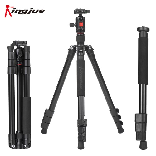 Buy Kingjue BT-258+QB-0T Aluminum Alloy Lightweight Portable Camera Tripod Monopod 360° Panorama Ball Head Carrying Bag Canon Nikon Sony DSLR Camcorder Max. Load Capacity 8Kg / 17.6Lbs