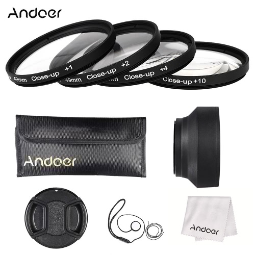 Buy Andoer 49mm Close-up Macro Lens Filter Set(+ 1 +2 +4 +10) Accessories(Lens Pouch + Collapsible Hood Cap Holder Cleaning Cloth)