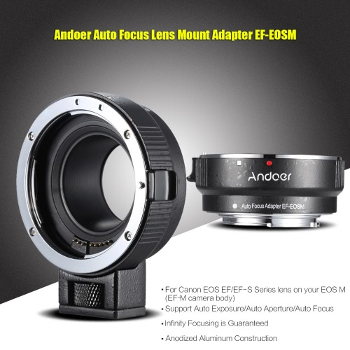 Buy Andoer EF-EOSM Lens Mount Adapter Support Auto-Exposure Auto-Focus Auto-Aperture Canon EF/EF-S Series EOS M EF-M M2 M3 M10 Camera Body Image Stability