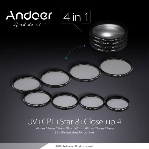 Buy Andoer 55mm Lens Filter Kit (UV + CPL Star+8 Close-up+4 ) Cap Holder Tulip & Rubber Hoods Cleaning Cloth