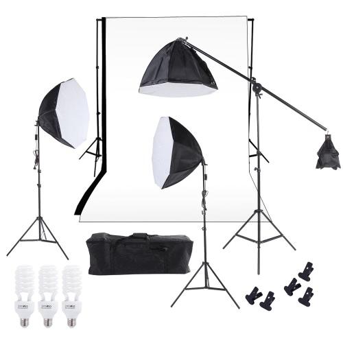 Buy Photography Studio Lighting Softbox Photo Light Muslin Backdrop Stand Kit Three 60cm Octagon Cantilever Bulbs White Black Carrying Bag