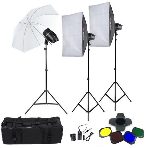Buy Tolifo Professional Photography Photo Studio Speedlite Lighting Lamp Kit Set (3 * )250W Flash Strobe Light Stand Softbox Soft Umbrella Cloth Lampshade Barn Door Trigger