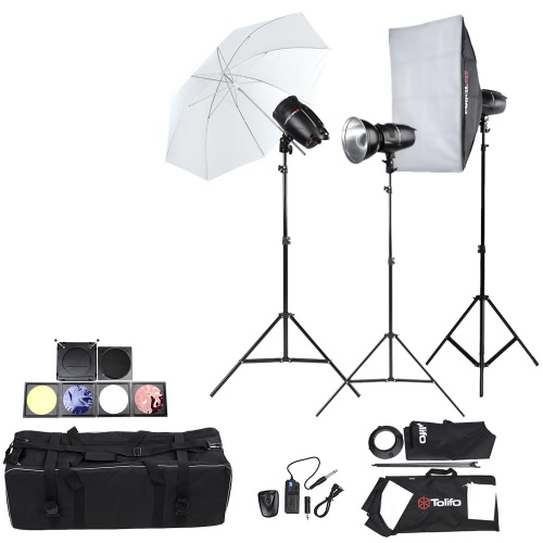 Buy Tolifo Professional Photography Photo Studio Speedlite Lighting Lamp Kit Set (3 * )180W Flash Strobe Light Stand Softbox Soft Umbrella Cloth Lampshade Barn Door Trigger