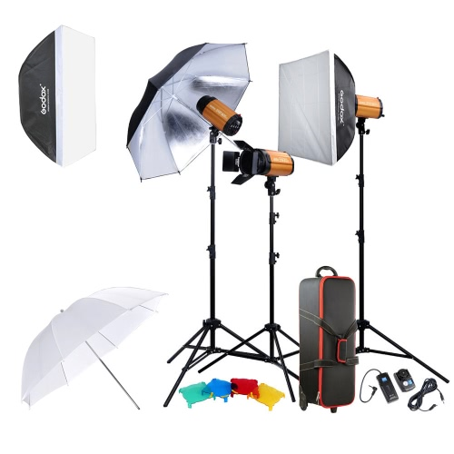 Buy Godox Professional Photography Photo Studio Speedlite Lighting Lamp Kit Set (3 * )300W Flash Strobe Light Stand Softbox Reflector Soft Umbrella Barn Door Trigger
