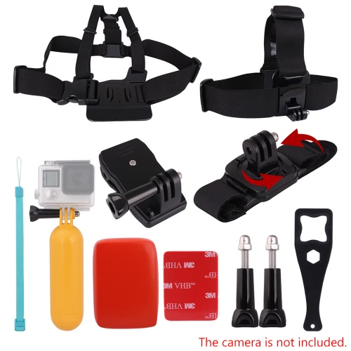 Buy Andoer 8in1 Chest Strap Head Floating Grip Floaty Buoy 360°Rotating Wrist 360° Rotary Backpack Hat Clip Plastic Wrench Tool Long Screw GoPro Hero 4/3+/3/2/1 SJCAM SJ4000 SJ5000 Action Cameras