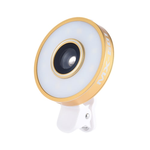 Buy Universal Clip Mini Phone Camera Lens 1LED Selfie Light Kit 3 Modes Fill-in Lamp + 185 Degree Wide Angle Fisheye 10X Macro Built-in Battery USB Rechargeable iPhone 7 / Plus 6s 6 Samsung Smartphone Cellphone PC