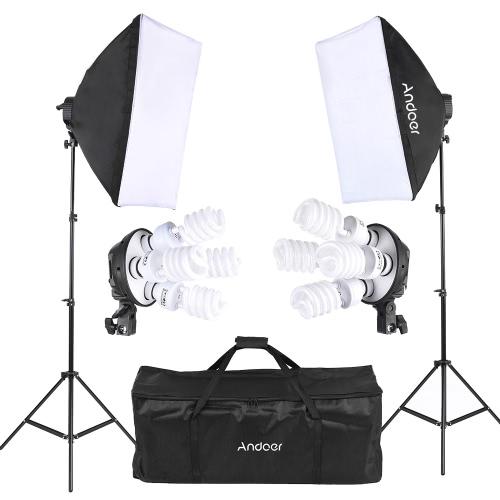 Buy Andoer Studio Photo Lighting Kit 2 * Softbox / 4in1 Bulb Socket 8 45W Light Stand 1 Carrying Bag UK Plug 220V
