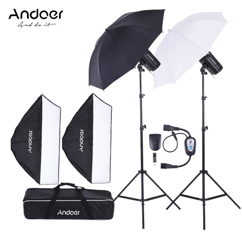 Buy Andoer MD-300 600W (300W * 2) Photo Studio Monolight Strobe Flash Light Softbox Lighting Kit Stand Lambency Unbrella Trigger Carrying Bag Video Shooting Location Portrait Photography