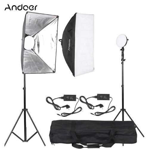 Buy Andoer LED Photography Studio Lighting Light Kit 2 * 30W Lamp + Softbox Stand 1 Carrying Bag