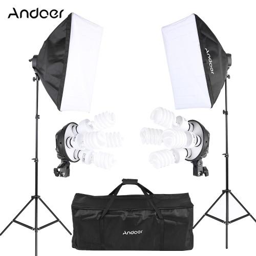 Buy Andoer Studio Photo Lighting Kit 2 * Softbox / 4in1 Bulb Socket 8 45W Light Stand 1 Carrying Bag