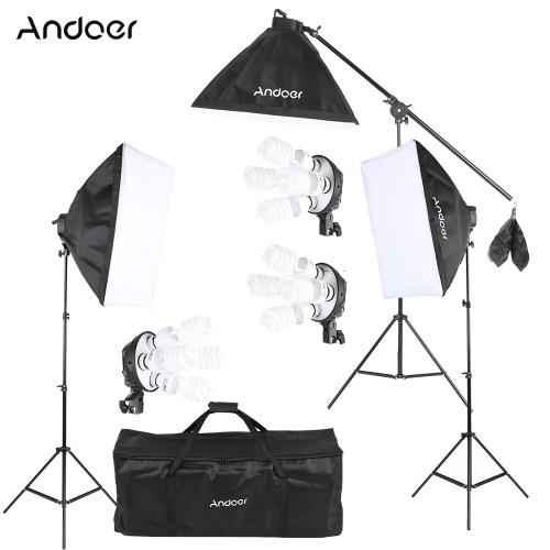 Buy Andoer Studio Photo Video Lighting Kit 12 * 45W Bulb / 3 4in1 Socket Softbox Light Stand 1 Cantilever Stick Carrying Bag