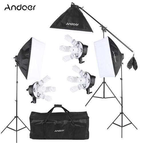 Buy Andoer Studio Photo Video Softbox Lighting Kit Equipment(15 * 45W Bulb / 3 5in1 Socket Light Stand 1 Cantilever Stick Carrying Bag