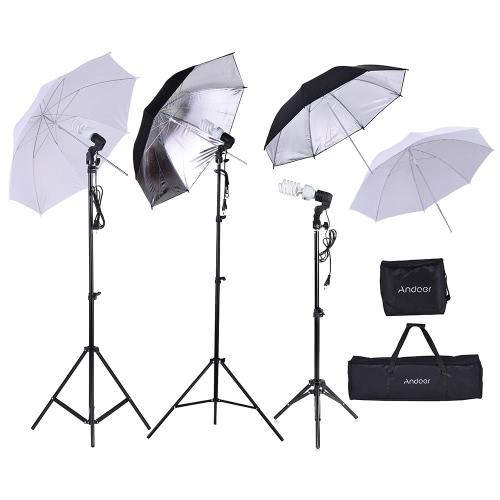 Buy Andoer Photo Studio Kit 2 * 2m Light Stand + 3 45W Bulb 83cm Translucent White Soft Umbrella +2 Black&Silver 1 80cm Swivel Socket Storage Bag Carrying