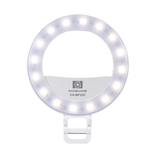 Buy NANGUANG CN-MP32C Clip-on Selfie Fill-in Ring LED Light Flash Bi-color 3200-5600K High CRI 95 Stepless Adjustable Round Shape 32 Makeup Mirror Iphone Samsung Smartphone Pink