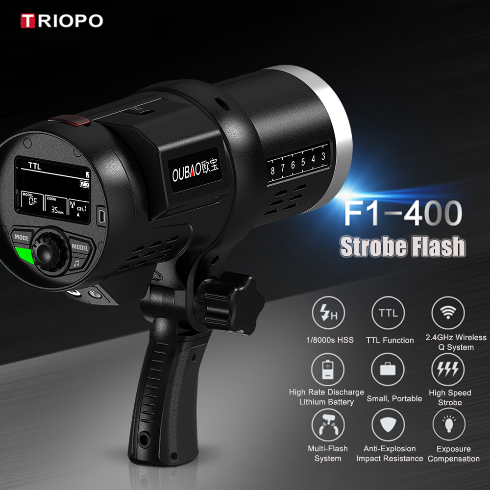 TRIOPO Oubao F1 400 400W 1/8000s High Speed Sync Outdoor Flash Strobe Light  2.4G Wireless Q System Dual TTL(i TTL And E TTL) 5600K With 2.4G Wireless  ...
