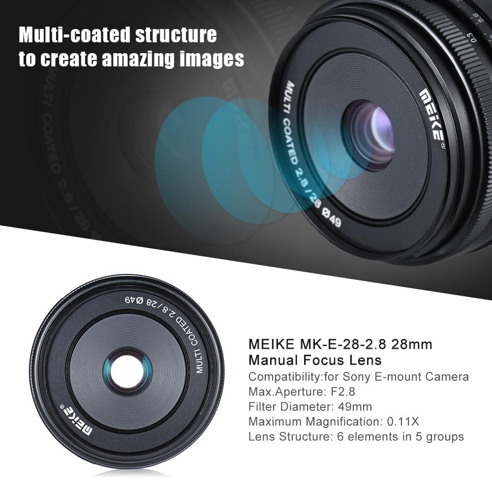 meike mk e 28 2 8 28mm f2 8 large aperture manual focus. Black Bedroom Furniture Sets. Home Design Ideas