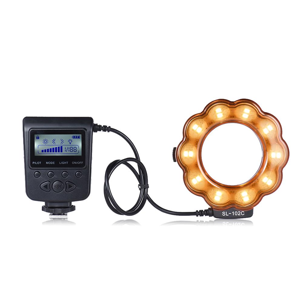 andoer sl 102c gn15 makro led ring runde flash fill in licht lampe helligkeit einstellbar lcd. Black Bedroom Furniture Sets. Home Design Ideas