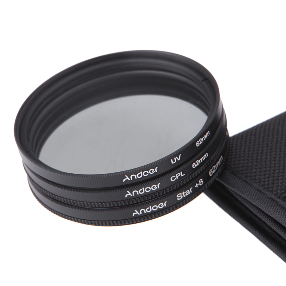 62mm Filtersatz UV CPL Stern 8 Punkt Filter Kit Mit