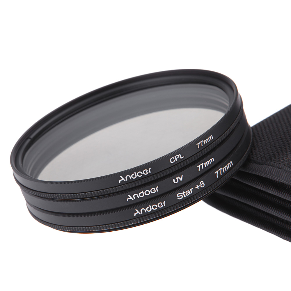77mm Filtersatz UV CPL Stern 8 Punkt Filter Kit Mit