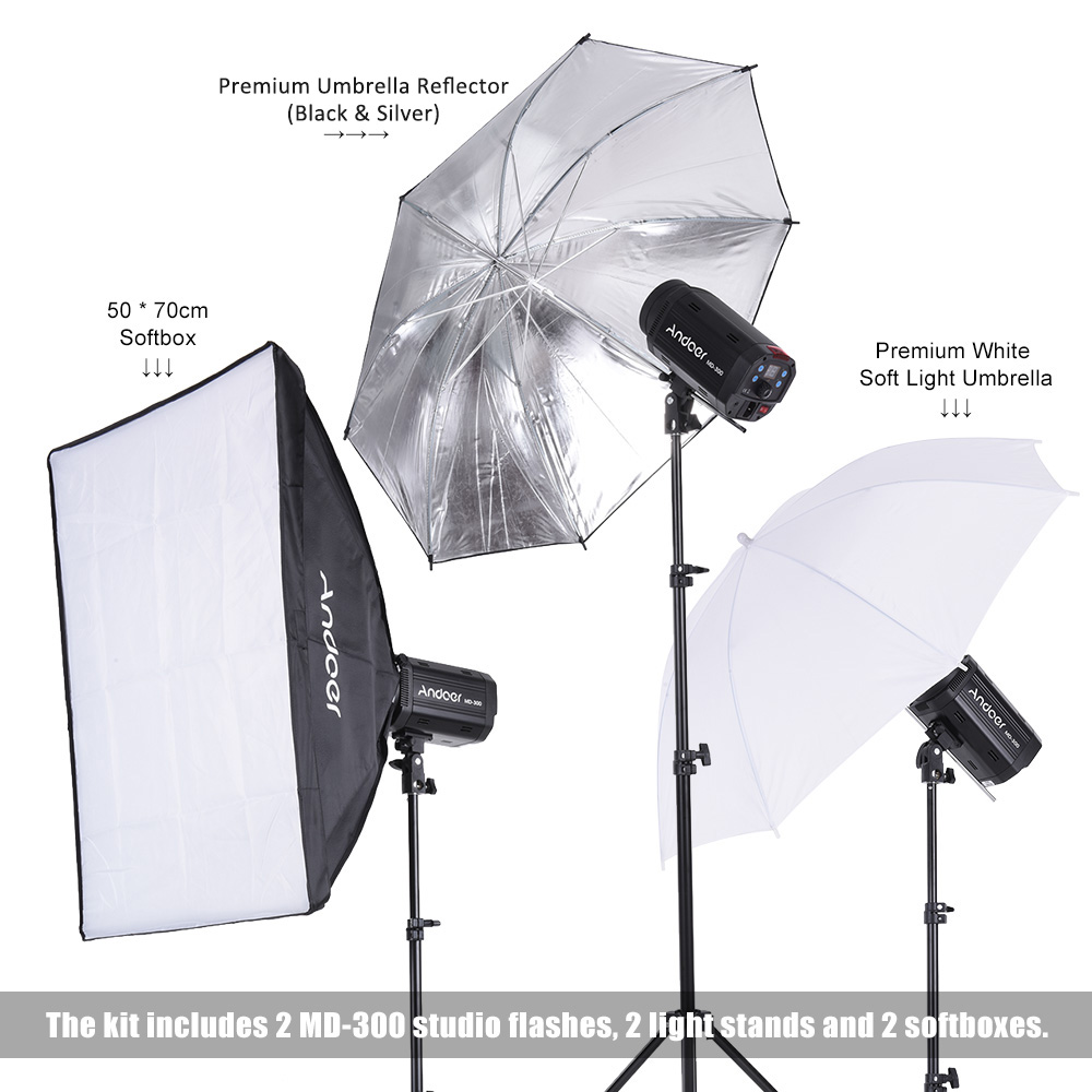Soft Studio Lighting Kit: Andoer MD-300 600W (300W * 2) Photo Studio Monolight