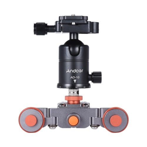 Andoer Electric Motorized 3-Wheel Video Pulley Car Track Dolly Rolling Slider Skater + Ball Head for Canon Nikon Sony Camera Camcorder for iPhone 7/7plus/6/6s Samsung Huawei Smartphone