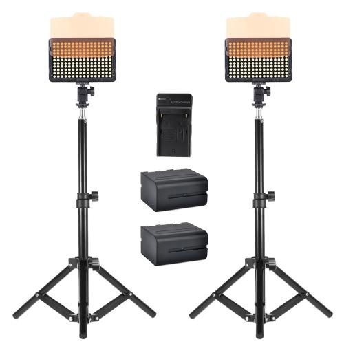 2Pcs Andoer Photo Studio 50cm / 20inch Aluminum Alloy Mini Light Stand Table Top Backlight Stand + 2Pcs Video Light Lamp Panel 176 LEDs 5600K + 1Pc Battery Charger and 2Pcs 6600mAh NP-F960 NP-F970 Battery