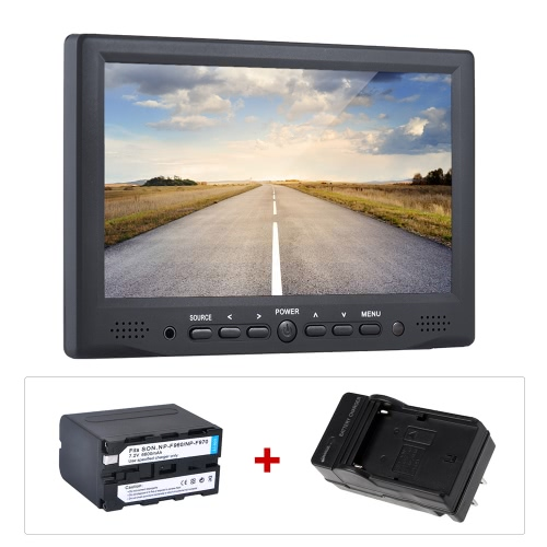 "Andoer AD-701 7"" Professional Digital Field Monitor 800*480 HD LCD Display 400cd/㎡ High Definition Multimedia Interface Input for DSLR Full HD Camera + Andoer Rechargeable Li-ion Battery for the Monitor + Battery Charger US Plug (TOMTOP) Sterling Heights Sale b ad"