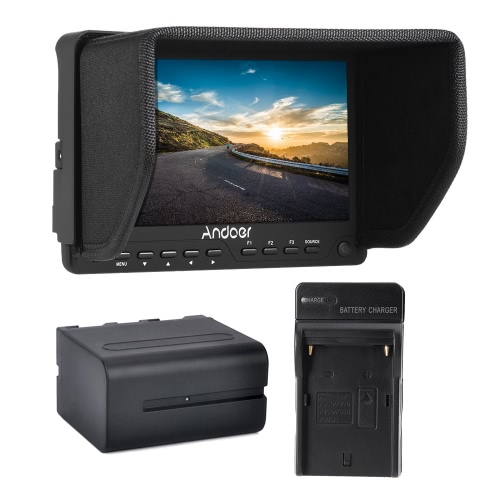 Andoer AD-702 7 Inch Ultra-thin HD 1280×800 IPS Screen Camera Field Monitor 400cd/㎡ for High Definition Multimedia Interface AV Input and Output for DSLR Camera Camcorder + Andoer Rechargeable Li-ion Battery for the Monitor + Battery Charger US Plug