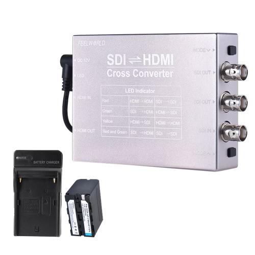 Feelworld SDI HDMI Video Audio Cross Converter Adapter Kit w/ 6600mAh Battery + Battery Charger SDI/HDMI Input HDMI/2-way SDI Output 1080P Broadcast Support 3G/HD/SD-SDI Conversion